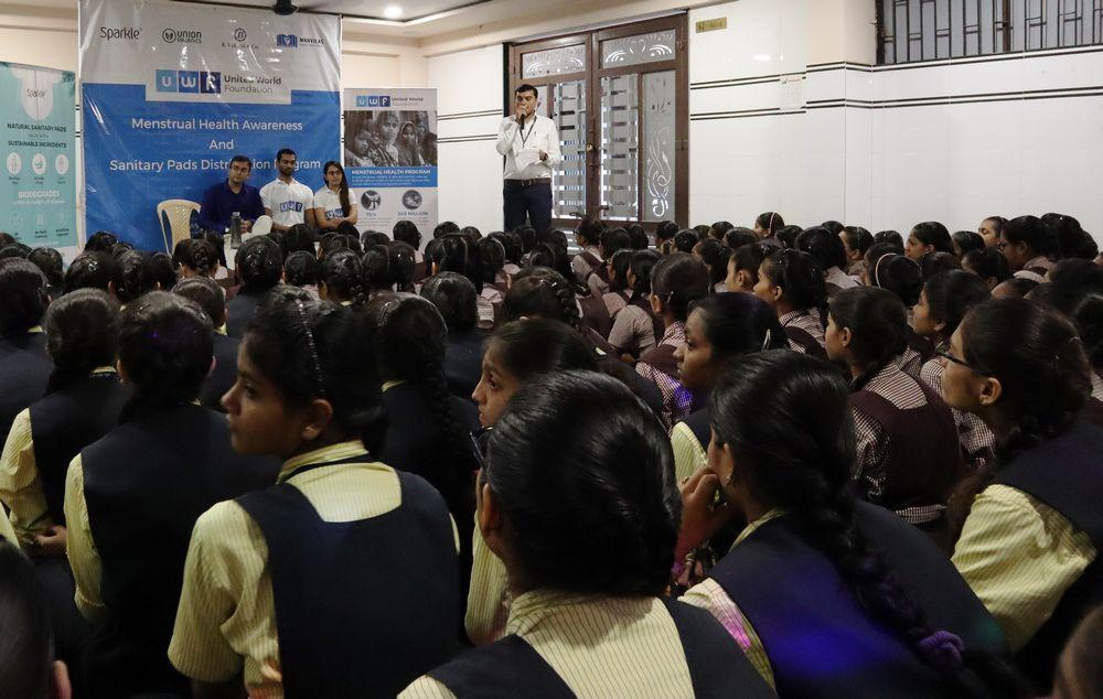 Hari Om School - Menstrual health awareness and sanitary pads distribution program - United World Foundation